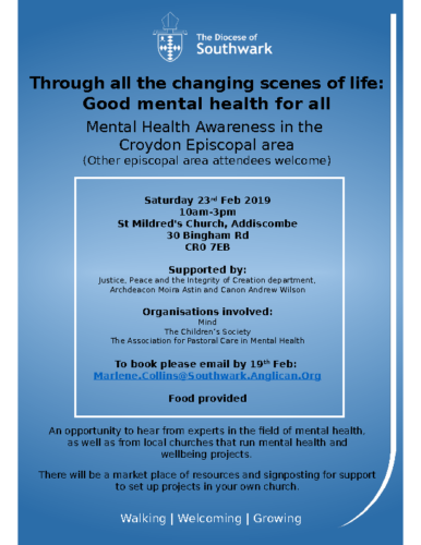 Croydon Mental Health Event Flyer 23rd Feb 2019