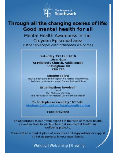 Croydon Mental Health Event Flyer 23rd Feb 2019