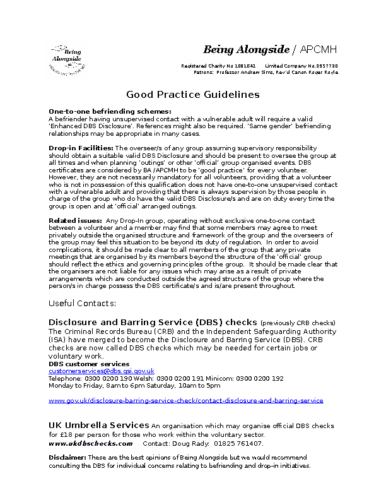 Good Practice Guidelines – Disclosure and Barring Service